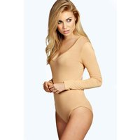 Long Sleeve V Neck Bodysuit - camel