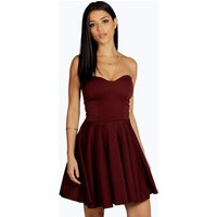 Bandeau Skater Dress - berry