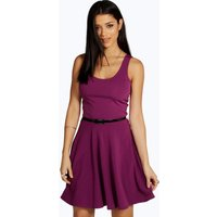 Scoop Neck Skater Dress - purple