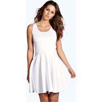Scoop Neck Skater Dress - white
