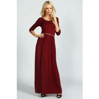 Scoop Neck Elasticated Waist Maxi Dress - red