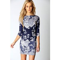 Printed Sleeve Bodycon Dress - multi