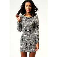 Skull Print Long Sleeve Bodycon Dress - cream