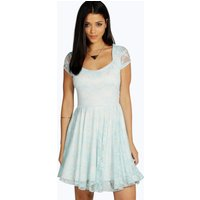 Cap Sleeve Lace Skater Dress - ice