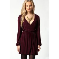 Jersey Long Sleeve Wrap Dress - berry