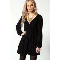 Jersey Long Sleeve Wrap Dress - black