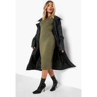 Cap Sleeve Jersey Bodycon Midi Dress - khaki