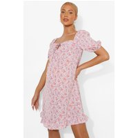 Womens Maternity Puff Sleeve Tie Front Floral Smock - Pink - 8, Pink