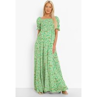 Womens Maternity Ditsy Floral Square Neck Maxi Dress - Green - 10, Green