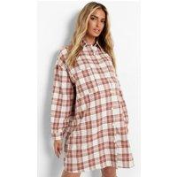 Womens Maternity Oversized Check Shirt - White - S, White