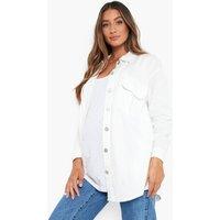 Womens Maternity Denim Oversized Shacket - Cream - 16, Cream