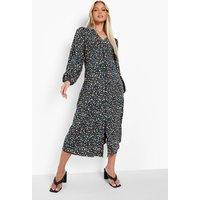 Womens Maternity Button Down Long Sleeve Midi Dress - Black - 16, Black
