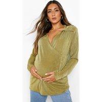 Womens Maternity Wrap Longline Shirt - Green - 12, Green