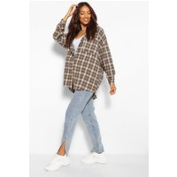 Womens Maternity Brushed Oversized Check Shirt - Beige - 10, Beige