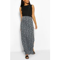 Womens Maternity Ditsy Floral Side Split Maxi Skirt - Blue - 12, Blue