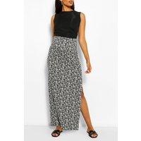 Womens Maternity Ditsy Floral Side Split Maxi Skirt - White - 8, White