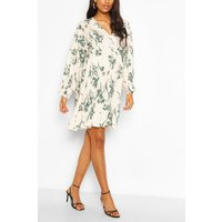 Womens Maternity Floral Smock Dress - White - 12, White