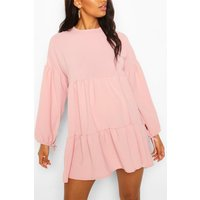 Womens Maternity Tiered Tie Sleeve Smock Dress - Pink - 10, Pink
