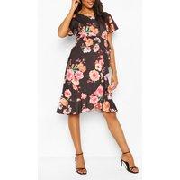 Womens Maternity Floral Ruffle Wrap Dress - Black - 14, Black