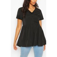 Womens Maternity Button Front Woven Smock Top - Black - 10, Black