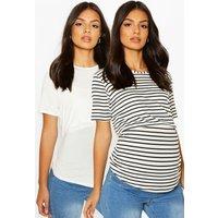 Womens Maternity 2 Pack Nursing T Shirt - White - 14, White