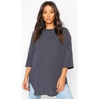 Womens Maternity Oversized Stripe Ribbed T-Shirt - Navy - 8, Navy