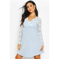 Womens Maternity Lace Sleeve Skater Dress - Blue - 14, Blue