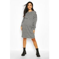 Womens Maternity Balloon Sleeve Stripe Sweat Dress - Grey - 8, Grey
