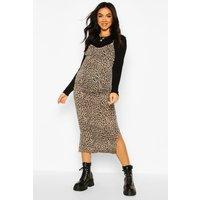 Womens Maternity Leopard Print Midi 2 In 1 Slip Dress - Black - 16, Black