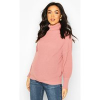 Womens Maternity Balloon Sleeve Roll Neck Jumper - pink - S, Pink