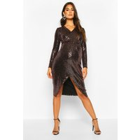 Womens Maternity Wrap Front Shimmer Midi Dress - brown - 10, Brown