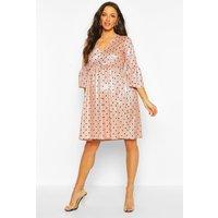 Womens Maternity Glitter Polka Dot Smock Dress - Pink - 16, Pink