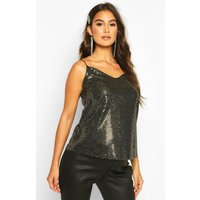 Womens Maternity Sequin Swing Cami Top - metallics - 10, Metallics