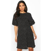 Womens Maternity Polka Dot Frill Detail Shift Dress - black - 14, Black