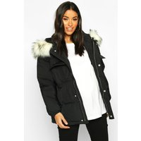 Womens Maternity Faux Fur Trim Padded Jacket - black - 12,