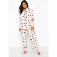 Womens Maternity Brushed Woven Star PJ Trouser Set - Pink - 16, Pink