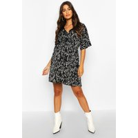 Womens Maternity Ditsy Floral Midi Kimono Sleeve Dress - black - 10, Black