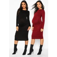 Womens Maternity 2 Pk Long Sleeve Basic Bodycon Dress - red - 12, Red