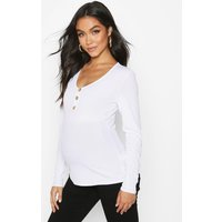 Womens Maternity Long Sleeve Button Front Rib Top - white - 10, White