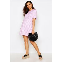 Womens Maternity Gingham Smock Dress - pink - 16, Pink