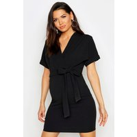 Womens Maternity Wrap Over Belted Dress - black - 14, Black