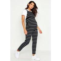 Womens Maternity Stripe Dungaree - black - 14, Black