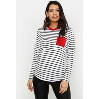 Womens Maternity Long Sleeve Pocket Detail T-Shirt - Black - 14, Black
