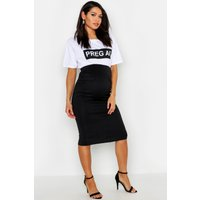 Womens Maternity Scuba Midi Skirt With Pockets - black - 8, Black