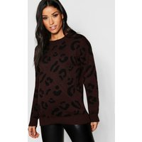 Womens Maternity Leopard Knitted Jumper - brown - M, Brown