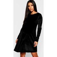 Womens Maternity Velvet Swing Dress - black - 14, Black