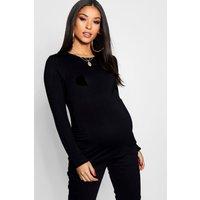 Womens Maternity Long Sleeve Ruched T Shirt - Black - 12, Black
