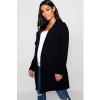 Womens Maternity Double Breasted Duster Jacket - Black - 12,