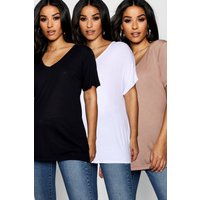 Womens Maternity 3 Pack Ultimate V Neck T Shirt - multi - 10, Multi