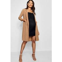 Womens Maternity Pocket Duster Jacket - Brown - 10, Brown